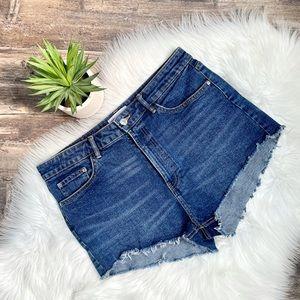 Zara High waisted cut off jean shorts- medium wash